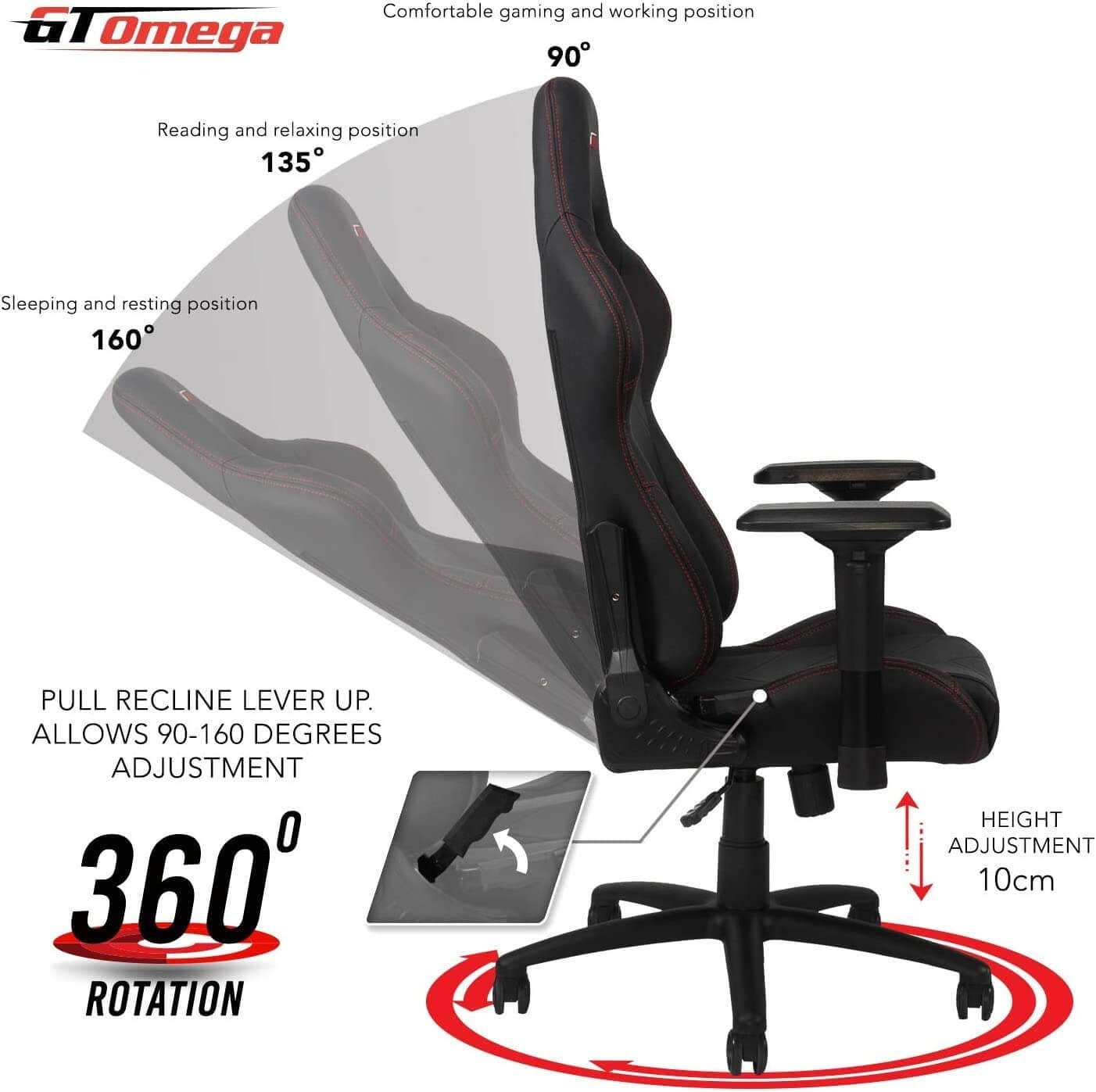 GT OMEGA PRO budget gaming chair with 360 rotation and 160 degree recline