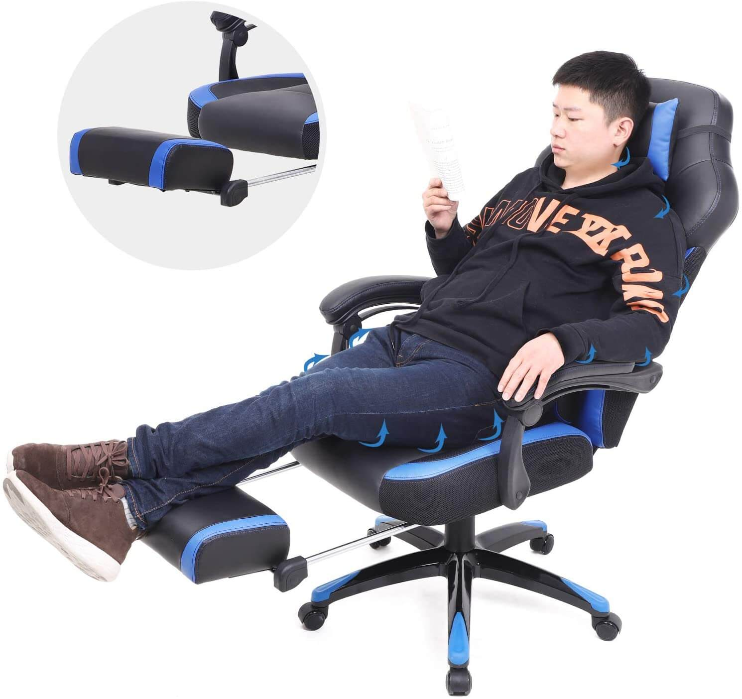 SONGMICS gaming chair with footrest and lumbar support