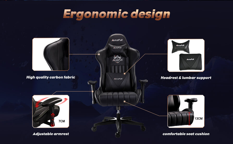 autofull console gaming chair with adjustable armrest