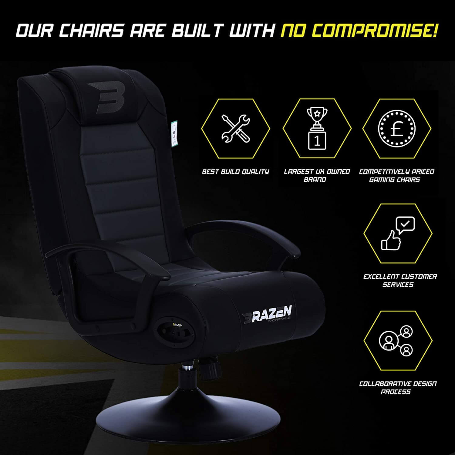 brazen gaming entertainment chair with subwoofers under 150