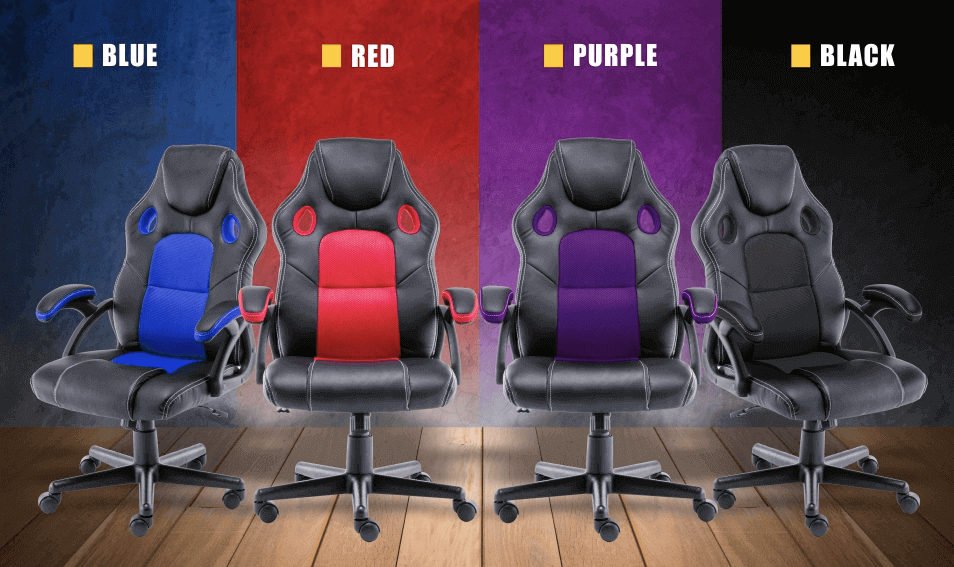 play haha gaming chair in black purple red blue colours