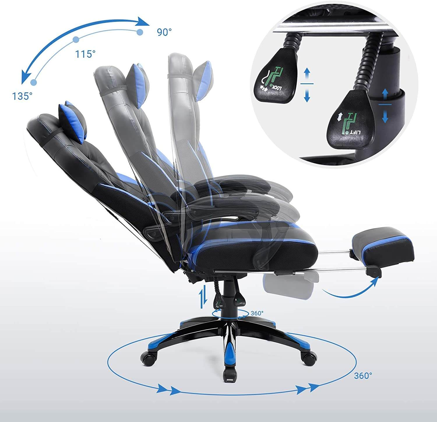 songmics racing ergonomic chair with S-shaped backrest